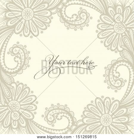 Lace vector design. Old lace background ornamental flowers. Floral frame