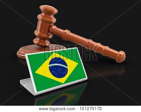 3D Illustartion. 3d wooden mallet and Brazilian flag. Image with clipping path