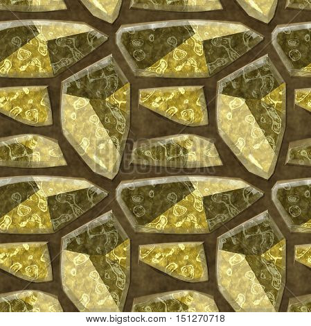 Seamless relief floor pattern of sharp polygonal stones with mottled structure. Brown, gold and beige sharp stones on a ground brown background