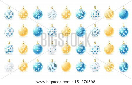 Set of Christmas balls in three colors - white, blue and gold. Vector illustration.
