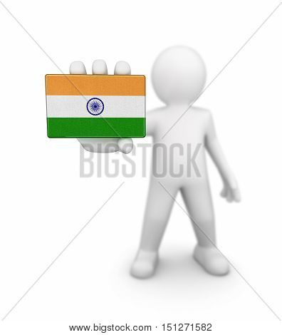 3D Illustartion. Man and Indian flag. Image with clipping path