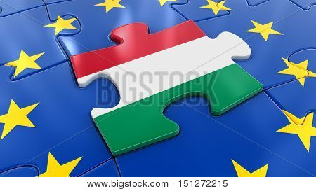 3D Illustartion. Hungary Jigsaw as part of EU
