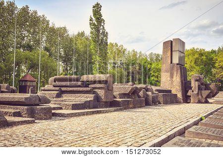 OSWIECIM POLAND - MAY 12 2016: Concentration camp Auschwitz Birkenau II in Brzezinka Poland.