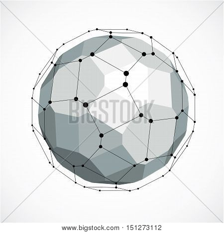 Abstract 3D Faceted Figure With Connected Black Lines And Dots. Vector Low Poly Grayscale Design Ele