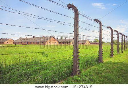 OSWIECIM POLAND - MAY 12 2016: Brick blocks concentration camp Auschwitz Birkenau II in Brzezinka Poland.