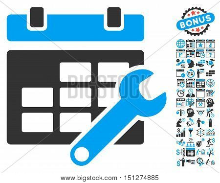 Timetable Options pictograph with bonus calendar and time management images. Glyph illustration style is flat iconic bicolor symbols blue and gray colors white background.