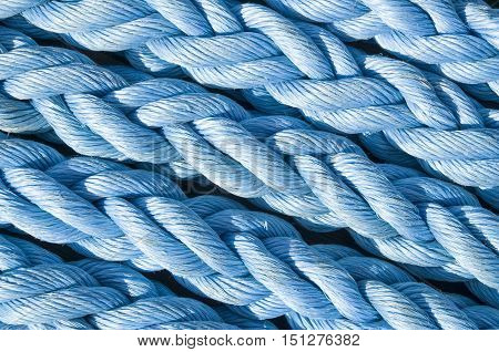 Blue new ropes closeup in sunny day