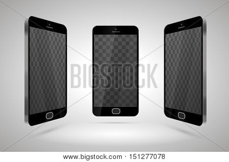 Three realistic glossy smartphones mockup with transparent place for layout on light background