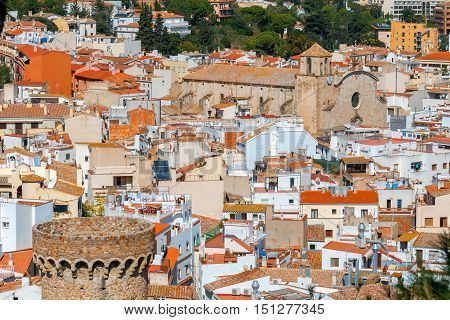 Scenic aerial view of the historical medieval part of Tossa de Mar. Spain. Costa Brava.