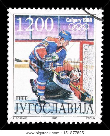 YUGOSLAVIA - CIRCA 1988 : Cancelled postage stamp printed by Yugoslavia, that shows Hockey.