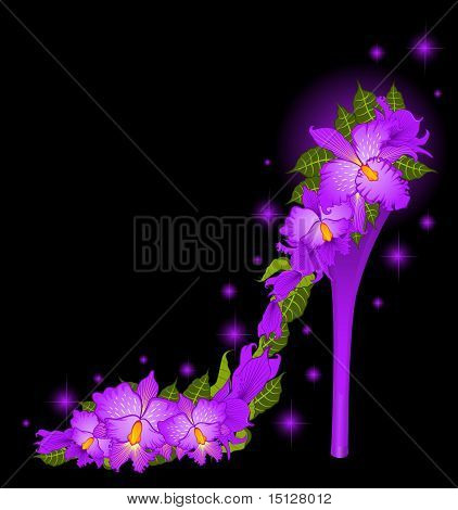 High heel from orchids