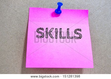 Text SKILLS on paper / business concept