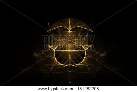 fractal golden coat of arms of abstract lines on a black background with kokp m looking down and two spearheads looking up