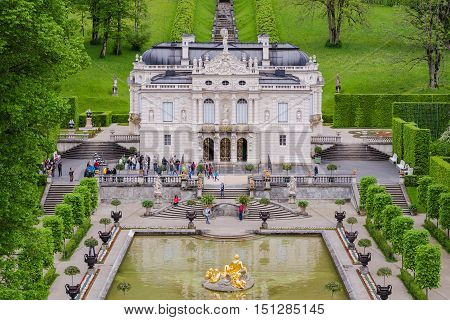 ETTAL GERMANY - JUNE 5 2016: Linderhof Palace is a Schloss in Germany in southwest Bavaria. It is the smallest of the three palaces built by King Ludwig II.