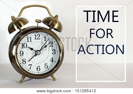 Text Time for action and clock background / business concept