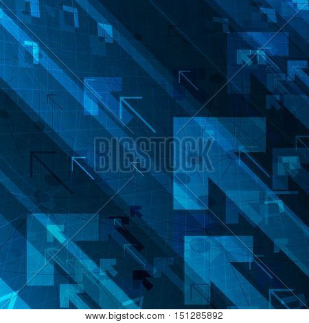 Business graph and arrows on blue abstract technological background. For digital themed designs.