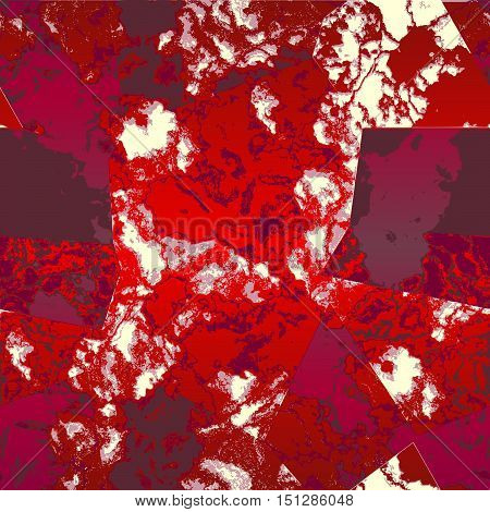 Abstract red and purple mottled pattern with marble veined structure. Red, white and purple marbled pattern with typical structure