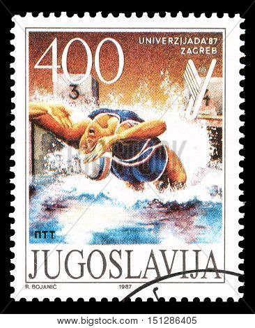 YUGOSLAVIA - CIRCA 1987 : Cancelled postage stamp printed by Yugoslavia, that shows Swimming race.