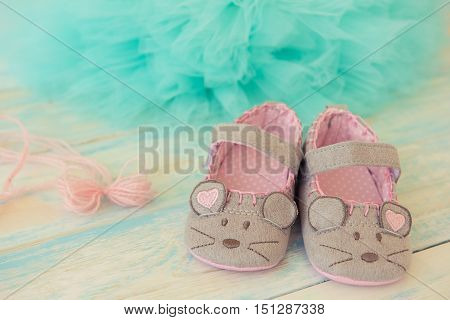 Booties mouse on a wooden turquoise background with tulle and pink bow