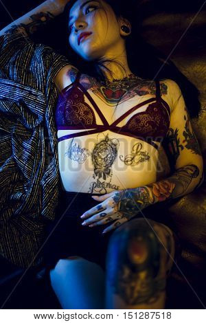 Tattoo Seductive Teen Girl Vogue Youth Concept