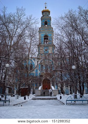 The temple in honor of Ascension put in 1792 is the oldest of the remained Orthodox churches of Yekaterinburg. It is the only monument of temple architecture which remained in the city in style of the Russian baroque. Winter snow December. In Yekaterinbur