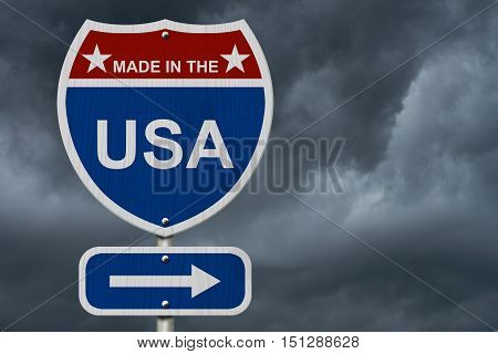 American Made in the USA Highway Road Sign Red White and Blue American Highway Sign with words Made in the USA with stormy sky background 3D Illustration
