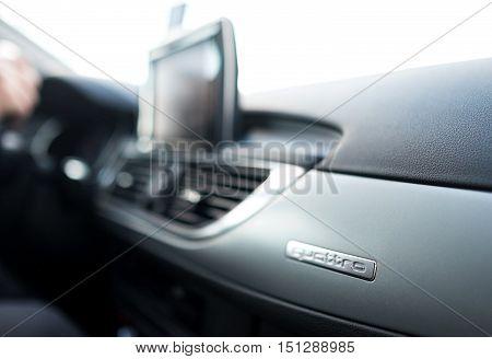 Koshice SLOVAKIA - OCTOBER 08: AUDI A6 Quattro logo