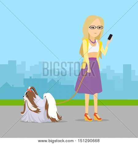 Phlegmatic temperament type girl walking with her adorable dog. Thoughtful, calm, patient woman with phone in urban city. Vector in flat style