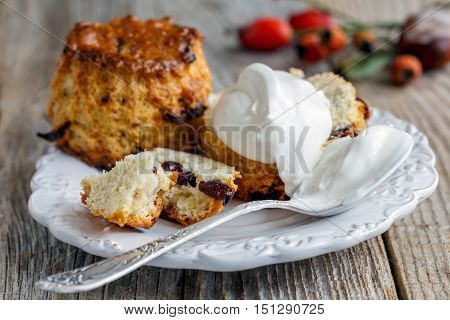 Homemade Scones With Whipped Cream.