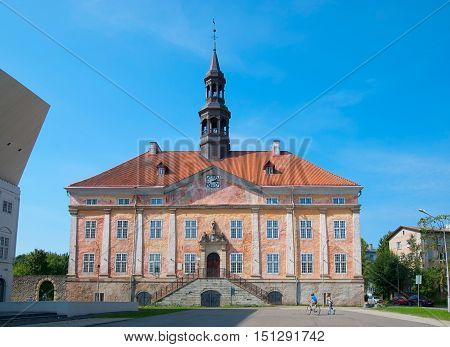 NARVA, ESTONIA - AUGUST 21, 2016: Old Town Hall Building and Square. On the left side is fragment of Narva College of University of Tartu