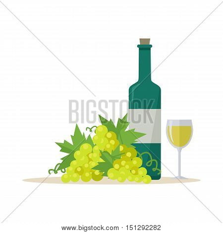 Bottle of white wine and wineglass with bunches of wine grapes. Bottle with label and glass of white wine. Wineglass full of white wine.