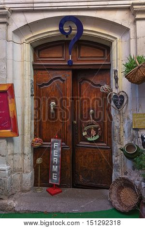 Valon Pont d'Arc France - September 19 2016: Door of a restaurant in the old town of Vallon Pont d'Arc Ardeche in France.