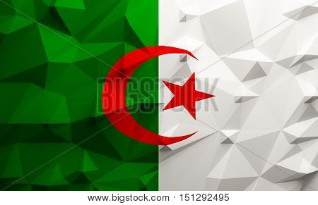 Low poly illustrated Algeria flag. 3d rendering.