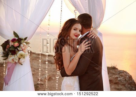 Wedding Portrait Of Beautiful Smiling Bride And Groom Under Wedding Archway. Newlyweds Hugs And Danc