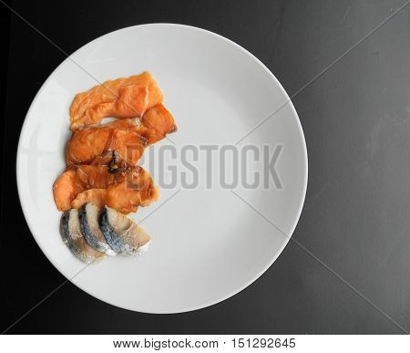 sashimi - japanese food - slice of fresh fish fillet on white plate