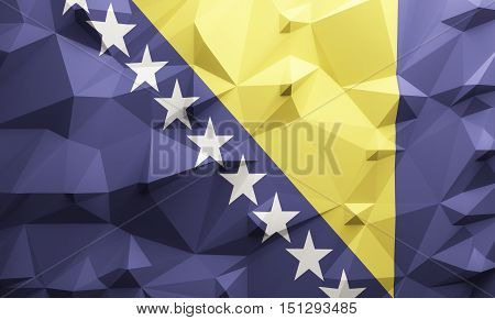Low poly illustrated Bosnian flag. 3d rendering.