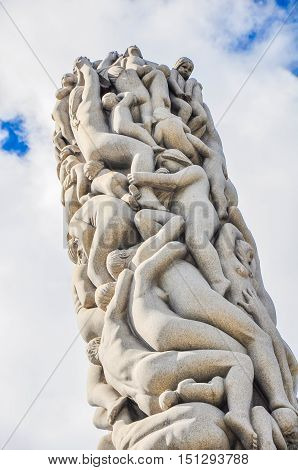 OSLO, MAY 2015: Human statues in Frogner Park. Frogner Park contains, in its present centre, the well-known Vigeland installation, a permanent sculpture installation created by Gustav Vigeland.