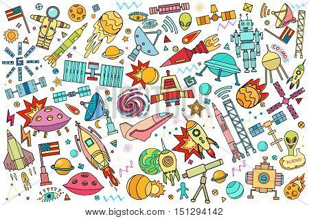 Vector abstract illustration of space. Solar system. Moon, astronaut, planet, rocket, earth, cosmonaut comet universe orbit Technology Hand drawn comic style