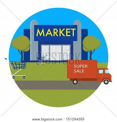 Market or shop mall building icon with delivery van, shopping trolley and blue building of a market or shop.