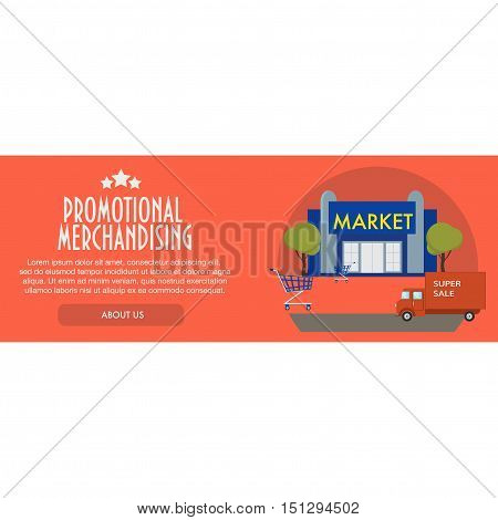 Flat design concept marketing template banner of a point of sales with a
