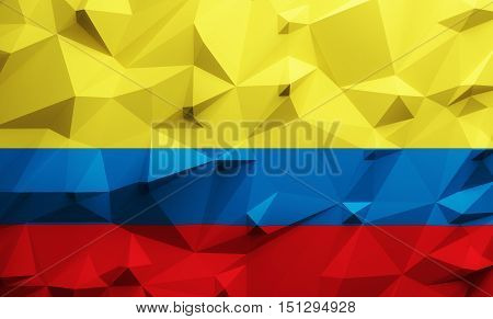 Low poly illustrated Colombia flag. 3d rendering.
