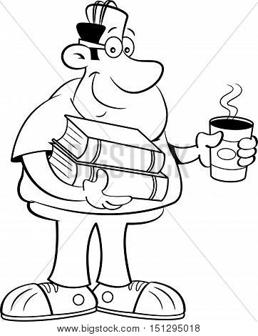 Black and white illustration of a man holding books and a cup of coffee.