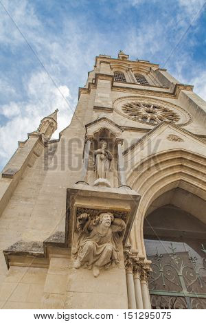 Detail from Sainte Anne Church in Montpellier, France