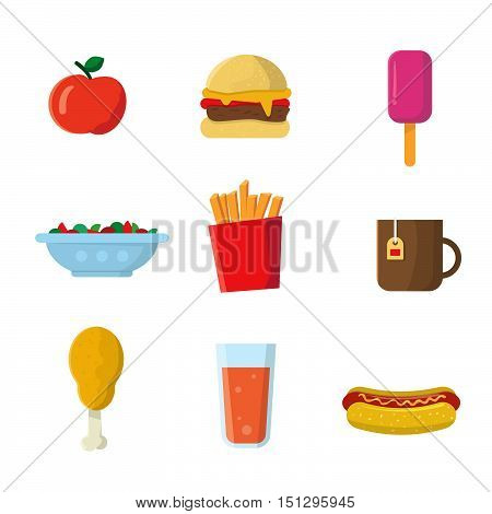 Fastfood junk food cartoon vector icons. Burger juice drink french potato fries coffee cup hot dog salad ice cream cheeseburger sausage. Modern flat design. Isolated on white background
