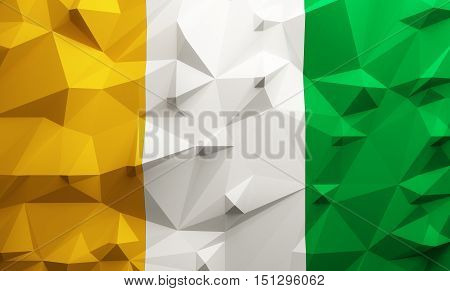 Low poly illustrated Ivory Coast flag. 3d rendering.