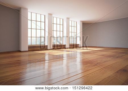 Modern unfurnished interior design with wooden floor and windows with city view. 3D Rendering