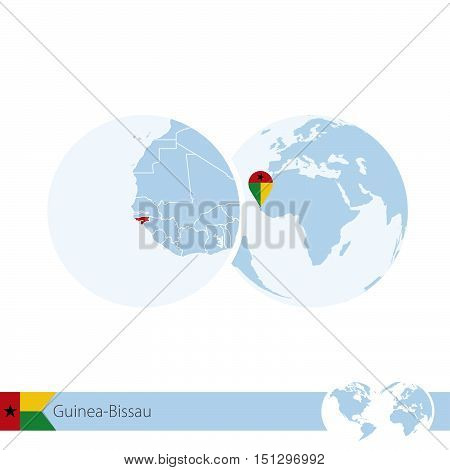 Guinea-bissau On World Globe With Flag And Regional Map Of Guinea-bissau.