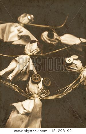 Vintage still life on a scattered group of ghouls ghosts and monsters in textured sinister scene