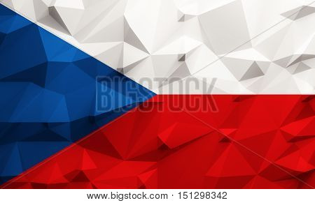Low poly illustrated Czech Republic flag. 3d rendering.