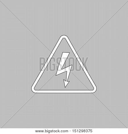 High voltage Simple line vector button. Thin line illustration icon. White outline symbol on grey background